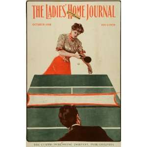 1902 Cover Ladies Home Journal Ping Pong Table Game