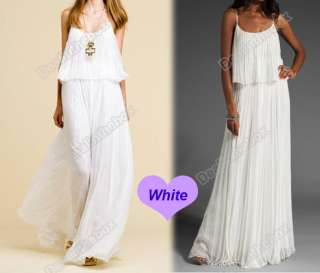 Korea Womens Boho Sexy Ruffle Elegant Maxi Long Dress 4 Color Chiffon