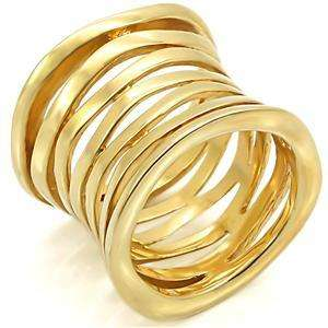NO STONE YELLOW GOLD PLATED WILD BAND LADY RING JEWELRY