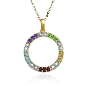 Yellow Gold Plated Sterling Silver Multi Gemstone and Diamond Accent