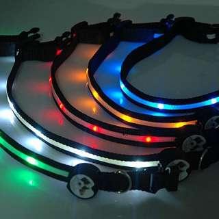 LED Red Light Lamp 2 Mode Adjustable Lockable Nylon Dog Collar Free