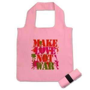 Grocery Bag Pink Make Love Not War Peace Symbol Sign