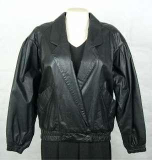 Vintage SUNDANCE LEATHERS Womens Ladies Black LEATHER Coat Jacket size