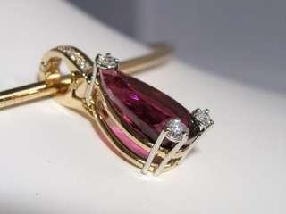 18k. Yellow Gold & Platinum Rubellite (Red) Tourmaline Diamond
