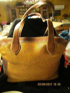 Fossil Brown Weave and Faux Leather Trim Shoulder Purse NICE