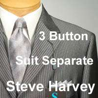 46L STEVE HARVEY Dark Gray Striped SUIT SEPARATE 46 Long Mens Suits