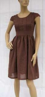 BL277 BROWN SHORT SLEEVE VINTAGE STYLE DRESS SIZE L