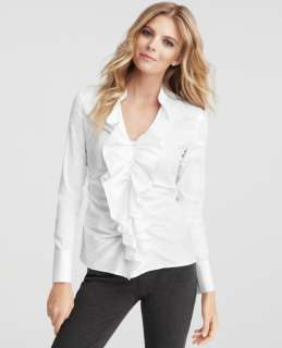 Ann Taylor Petite Ruffle Front Long Sleeve Shirt NWT Org.$78 (IN