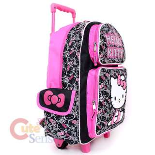 Hello Kitty School Roller Backpack Rolling Bag Black Outline 3