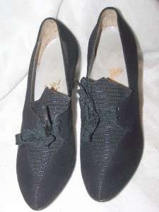 WWII Deco 1940s Black Suede Leather Rockabilly WITCH Platform Shoe 7AA
