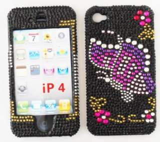 Hard Case Cover Black Butterfly Jewel Cute Dazzle Bling Design