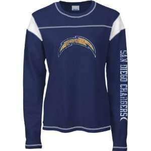 Diego Chargers Womens Navy Giant Logo Too Long Sleeve Waffle Thermal