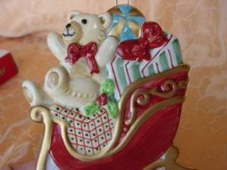 and FLOYD CHRISTMAS ORNAMENT w BOX Teddy Bear in SLEIGH w gifts 2003