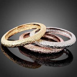 white yellow rose gold GP Simple Style 3 in 1 Band Fashion Ring