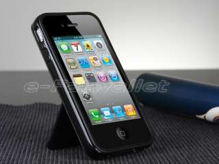 Pink Aluminum TPU Hard Case Cover W/Chrome Stand For iPhone 4 4G 4S