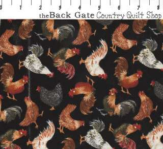 TIMELESS TREASURES Hen Party roosters fabric C4636