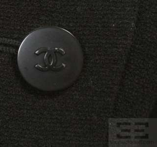 Chanel Boutique Black Wool Button Up Jacket 98C, Size 36