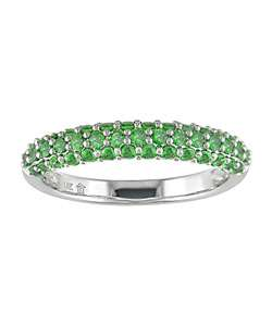 14k White Gold and Green Garnet Ring