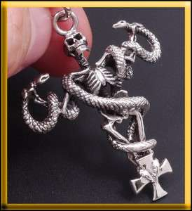 925 STERLING SILVER SKELETON SKULL SNAKE CROSS PENDANT