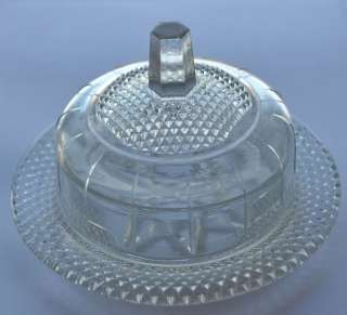 1930s Estonia Vintage Press Glass Butterdish w Lid