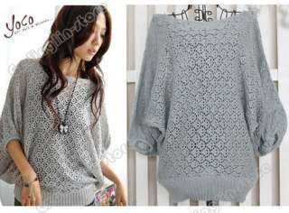 Hollow Batwing Dolman Knit Knitting Coat Out Boat Neck Sweater Top