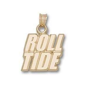 Alabama Crimson Tide Roll Tide Pendant   Gold Plated
