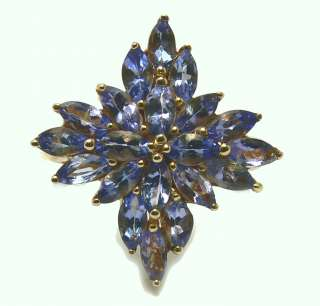 Exquisite Floral Tanzanite & Gold Ring 2cts
