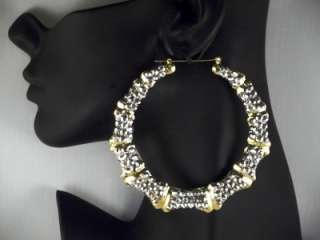 9cm gold tone rhinestone bamboo effect hoop earrings