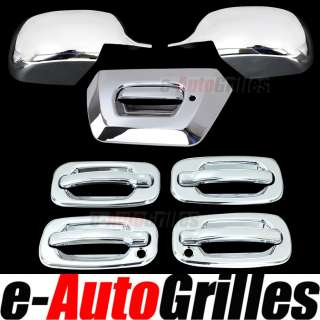 02 06 Chevy Avalanche Chrome ABS Mirror+Tailgate+4 Door Handle with
