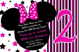 Stars Pink Mickey & Minnie Mouse Birthday Invitations