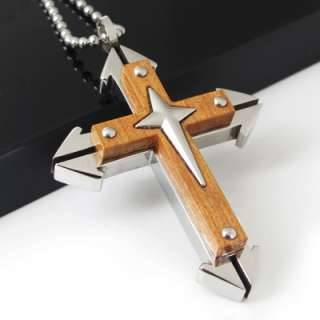 Heavy Mens Stainless Steel Cross Pendant Necklace Cool