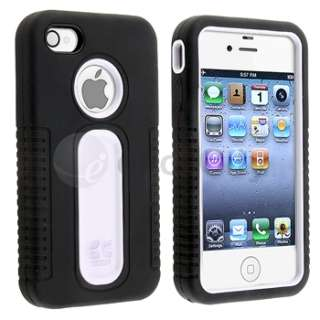 White Hard/Black Hybrid Plastic Case Cover+Stylus Pen For iPhone 4 4S