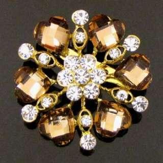Item  1 pc Austrian rhinestone crystal flower brooch pin