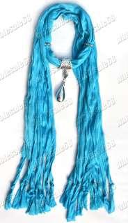 blue cotton scarf charm silver plated drop pendant fashion womens
