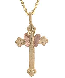 Black Hills Gold Butterfly Cross Pendant Necklace