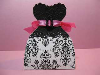 Pink Damask Quince Sweet 16 Bridal Wedding Dress Favor Boxes