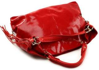 Genuine Leather Purse Satchel Bag Handbag Tote red/blk
