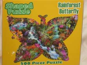 NEW Rainforest Butterfly 500 Piece Shaped Puzzle 27 X 19 Made In USA