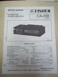 Fisher Service/Repair Manual~CA 228 Amplifier/Amp