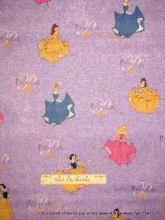Disney Princess Glitter Snow White Cinderella Fabric YD