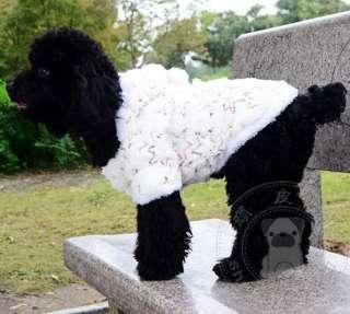 Luxury White Sequins Fur Coat Jacket Dog Clothes Apparel 5 Size