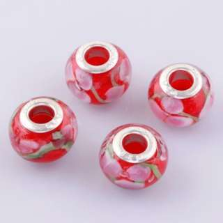 Pink&Red Murano Lampwork Glass Charms Beads Fit Bracelets Bg224