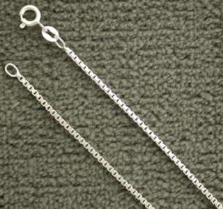Solid Sterling Silver Box 1.7mm Chain Italian Italy 925