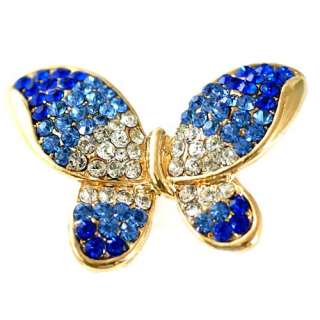Shipping Blue Cute Big Butterfly Gold plate Diamante Adjustable Ring