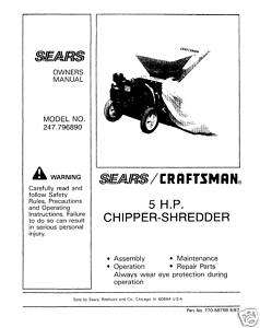 Craftsman Chipper Shredder Manual Model # 247.796890