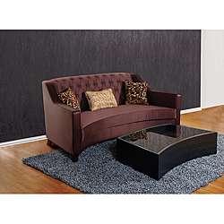 Modern Sheer Fabric Eggplant Sofa