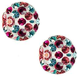10k Yellow Gold Multi colored Crystal Ball Stud Earrings