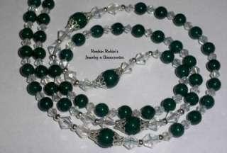 Dark Green Jade Catholic Rosary Bead Necklace