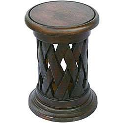 Hand carved Acacia Wood Lattice weave End Table (Thailand)