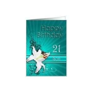 White Lily Birthday card, son, twenty one Card Toys & Games